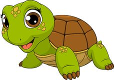 Cheerful child turtle. Vector illustration of a cute turtle baby child smiling, on a white background, coloringn vector illustration