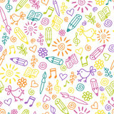 Cheerful childlike seamless pattern. Childlike hand drawn vector seamless pattern on the topic of studies and creation. Made in clear and cheerful tones Stock Images