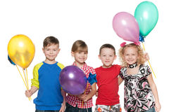 Cheerful children celebrate birthday Stock Image