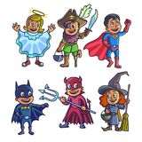 Cheerful children in creative halloween costumes illustrations set. Cheerful children in creative halloween costumes isolated vector illustrations set on white Stock Image