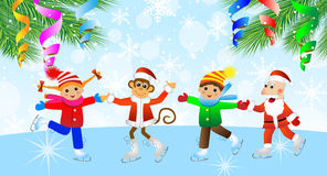 Cheerful children, the grandfather a frost and the monkey on ska Stock Images
