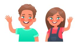 Free Cheerful Children. Happy Boy And Girl Waving Hand, Hello Gesture. Vector Illustration Royalty Free Stock Image - 174176216