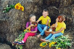 Cheerful children have Breakfast outdoors Royalty Free Stock Image
