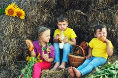 Cheerful children have Breakfast outdoors Royalty Free Stock Photos