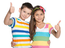 Cheerful children hold his thumbs up Royalty Free Stock Photo