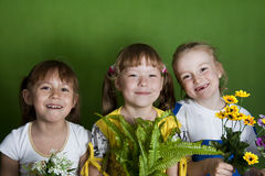 Cheerful children in a kindergarten summer. Royalty Free Stock Photography
