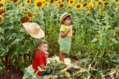 Cheerful children with milk and bread in nature. Children with milk and bread in nature stock photography