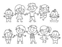 Cheerful children painted by colorful pencils with kids elements, drawings, paintings. Girls and boys are on the white. Background in the linear design. Vector Stock Images