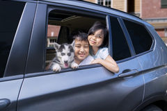 Cheerful children with puppy in the car Stock Photo