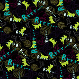 Cheerful children's pattern with the image of dinosaurs Royalty Free Stock Photo