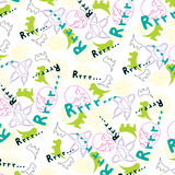 Cheerful children's pattern with the image of dinosaurs Stock Photos