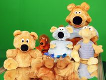 Cheerful children`s toys on a bright background Stock Photo