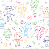 Cheerful children seamless pattern painted by colorful pencils with kids elements, drawings, paintings. Girls and boys. Are on the white background in the royalty free illustration