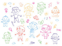 Cheerful children standing together, drawings, paintings. Girls and boys are on the white background in the linear stock illustration