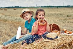 Cheerful children on a summer picnic in the field. Beautiful brother and sister on summer vacation stock photography