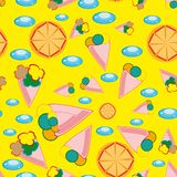 Cheerful children wallpaper. With ice-cream and orange. Illustration Stock Photography