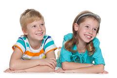 Cheerful children on the white Royalty Free Stock Image
