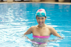 Cheerful Chinese swimmer Royalty Free Stock Photo