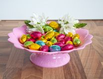Cheerful chocolate easter eggs Stock Image