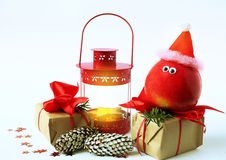Cheerful Christmas decoration with apple Stock Photography