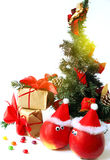 Cheerful Christmas decoration with apples Stock Photography