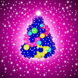 Cheerful Christmas Greeting card, fir multicolor flowers Royalty Free Stock Image