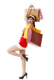 Cheerful Christmas lady Royalty Free Stock Image