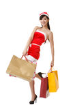 Cheerful Christmas lady Stock Images