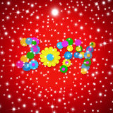 Cheerful Christmas 2014 New Year Greeting Card. Cheerful Christmas Greeting card 2014 new year numbers made with multicolored flowers on red starry background Royalty Free Stock Images