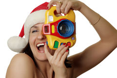 The cheerful christmas photographer Royalty Free Stock Photo
