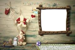 Cheerful Christmas Santa Claus photo frame Royalty Free Stock Photography
