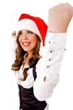cheerful christmas sidepose woman Στοκ Φωτογραφία
