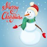 Cheerful Christmas snowman Stock Photo