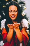 Cheerful in Christmas time stock photos