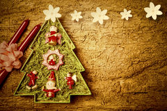 Cheerful Christmas tree card. Copyspace. Royalty Free Stock Images