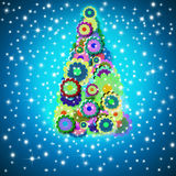 Cheerful Christmas tree greeting card Royalty Free Stock Images