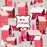Cheerful Christmas Village Stock Photos