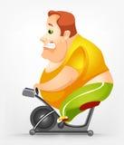 Cheerful Chubby Man. Cartoon Character Cheerful Chubby Man. Gym. Vector Illustration. EPS 10 Royalty Free Stock Photo