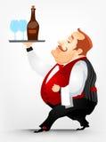 Cheerful Chubby Men. Cartoon Character Cheerful Chubby Men. Waiter. Vector Illustration. EPS 10 Royalty Free Stock Photography