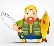 Cheerful Chubby Men. Cartoon Character Cheerful Chubby Men. Fisherman. Vector Illustration. EPS 10 Royalty Free Stock Photo