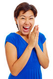 Cheerful clapping hands teenage girl Stock Photo
