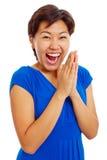 Cheerful clapping hands teenage girl stock photo