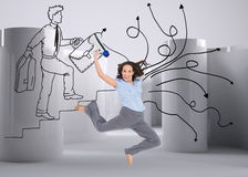 Cheerful classy businesswoman jumping while holding megaphone Stock Photography