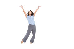 Cheerful classy businesswoman jumping Royalty Free Stock Photo