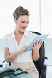 Cheerful classy businesswoman using her digital tablet Stock Photos