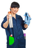 Cheerful cleaning worker woman Royalty Free Stock Photography