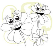 Cheerful clovers in black and white Stock Photos