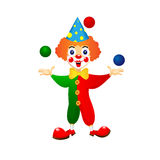 Cheerful clown juggles balls Stock Photography