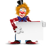 Cheerful clown with a white placard Stock Images