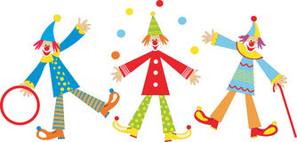 Cheerful clowns for children holiday Stock Photography